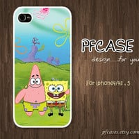 "Spongebob and Patrick star ""Friend Forever""  : Handmade Case for Iphone 4/4s , Iphone 5 Case Iphone"
