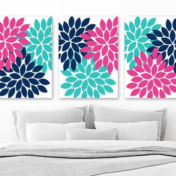 Flower Wall Art, Navy Turquoise Pink Wall Art, CANVAS or Prints, Girl Bedroom Artwork, Flower Bathroom Decor, Flower Petal Pictures Set of 3