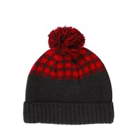 ASOS Bobble Beanie Hat with Buffalo Check