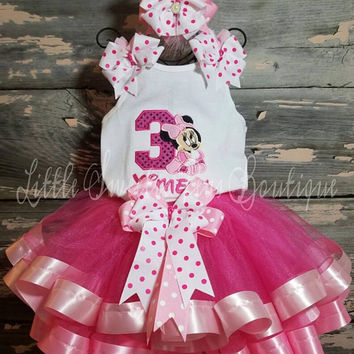 Minnie Mouse Embroidered Birthday Tutu Outfit Set
