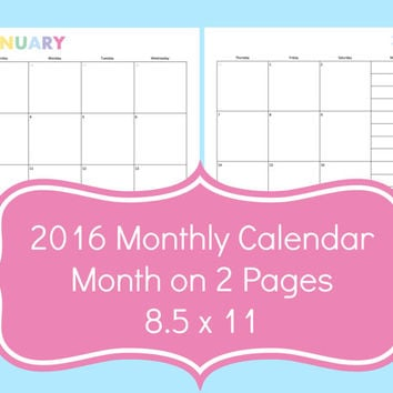 2016 calendar, printable 2016 calendars, printable monthly calendar 2016, monthly planner, monthly calendar, discbound planner inserts