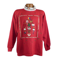 Ugly Christmas Sweater Vintage Sweatshirt 12 Days of Christmas Turtleneck