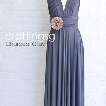 Bridesmaid Dress Infinity Dress Charcoal Grey Floor Length Wrap Convertible Dress Wedding Dress