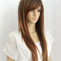 Austin // Long Straight Brown Wig with Red Highlights Full Wig Synthetic Hair