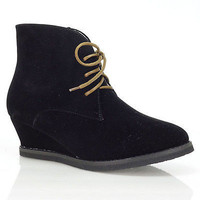Valencia01 Black Lace Up Ankle Bootie Hidden Wedge Western Cowboy Wing Tip