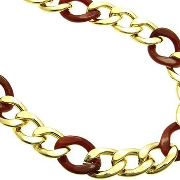 Red Metal And Lucite Chunky Chain Necklace
