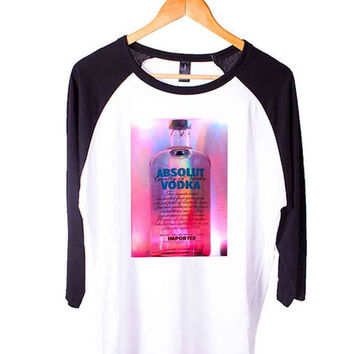 Absolut Kurant Vodka Desktop Short Sleeve Raglan - White Red - White Blue - White Black XS, S, M, L, XL, AND 2XL*AD*