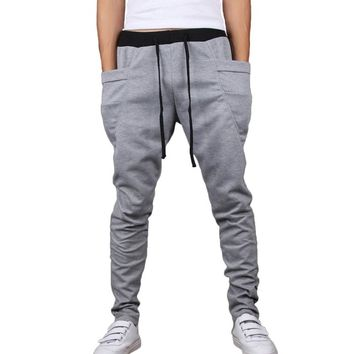 HEMOON Mens Jogging Pants Tracksuit Bottoms Training Running Trousers Grey XL