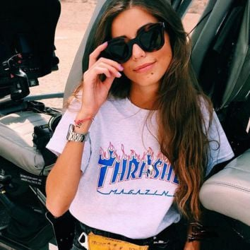 Thrasher Print Cotton T-Shirt Tee Top