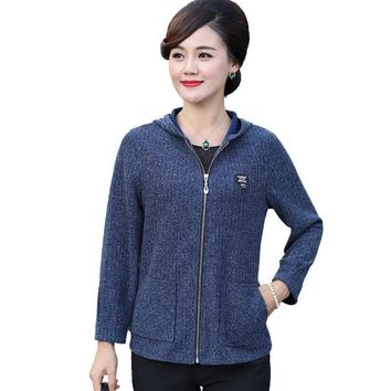 Trendy 1xl-5xl hooded jacket 2018 autumn new middle age mother coat plus size casual women knitted garment zipper cardigan AT_94_13