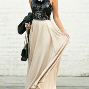 Black and Pink Flare Maxi Dress with Sequins