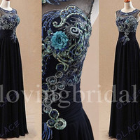 Long Black Unique Appliques Prom Dresses Sexy Cut Back Evening Dresses Party Dressers Homecoming Dresses 2014 New Fashion