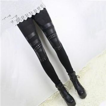 leather Stitching Modal Cotton Leggings For Women