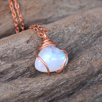 Rainbow Moonstone Jewelry - Natural Moonstone Necklace - Wire Wrapped Stone Necklace - Gemstone Jewelry - Gypsy Jewelry Hippie Boho Necklace