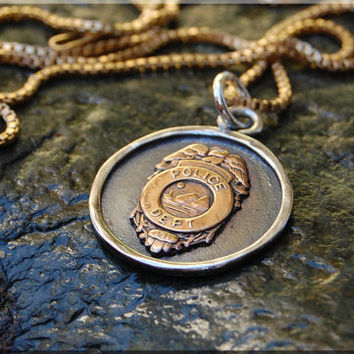 Police Badge Pendant Necklace, Law Enforcement Pendant Charm, Police Officer Charm, Hand Soldered Police Badge Pendant Charm Necklace
