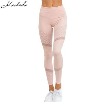 Macheda 2017 Women's Leggings Sexy Mesh Patchwork Leggings Activewear Adventure Time pink Sportwear Leggings Women