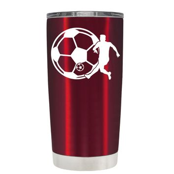 TREK Soccer Player with Ball on Translucent Red 20 oz Tumbler Cup