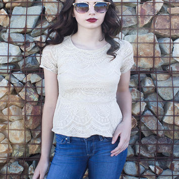 Gold Shimmering Crochet Peplum Top