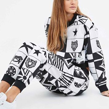 Reebok X Melody Ehsani Flag Print Joggers in Black and White - Urban Outfitters
