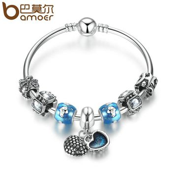 Silver Color Mother Son Charm Bracelets Heart Pendant & blue Beads Love Bracelets & Bangles for Women Jewelry PA3814