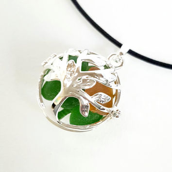 Tree Of Life Necklace GENUINE Sea Glass Jewelry In Silver Locket