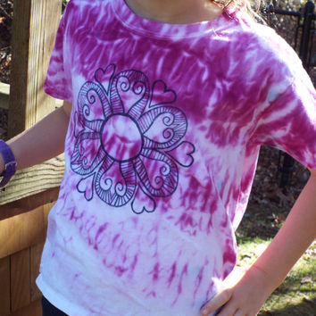 Girls Flower Shirt, Girls Tie Dye Flower TShirt, Funky Flower, Girls Hippie Tie Dye Shirt, Flower Child, Flower Power, Boho Kids Tiedye
