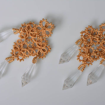 Unique earrings homemade jewelry tatting lace beaded jewelry fashion accessories