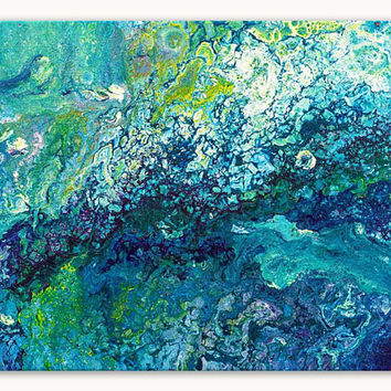 Original abstract painting on canvas, turquoise painting, original painting, small painting, Abstract Wall Art, fluid painting, colorful art