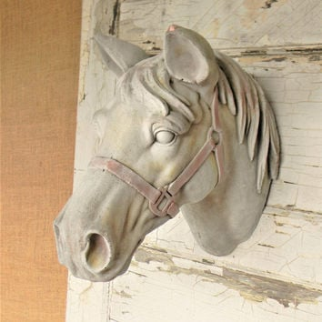 Faux Horse Head,Faux Taxidermy,Animal Heads,Western Wall Decor,Equine Decor,Painted Horse,Horse Decor,Country Home Decor,Equestrian Decor