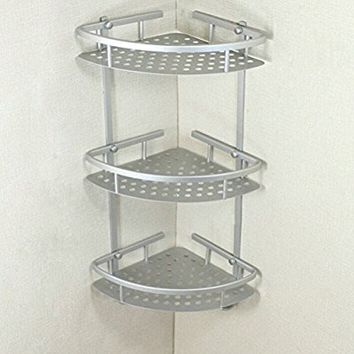 XIDAJE Wall Mounted Shower Caddy Wire Basket Storage Shelves Corner Storage Rack (3 Tiers Matte)