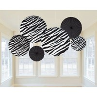 Zebra Stripes Animal Print Paper Fan Decorations (6ct)