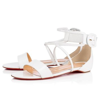 Christian Louboutin Cl Choca Flat Latte Patent Leather 18s Sandals 1181042wha8 - Sale