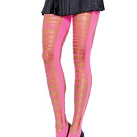 Criss Cross Shredded Pantyhose (One Size,Neon Yellow)