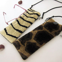 Eyeglasses case lasting animal giraffe zebra skin pattern upholstery plush fabric Glasses pouch detachable cord Gift for woman  Mothers day
