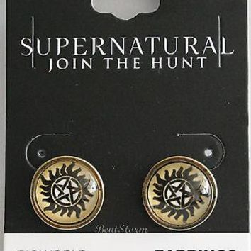 Licensed cool CW SUPERNATURAL Anti-Possession Logo JOIN HUNT SAM DEAN Post Stud Earrings NEW