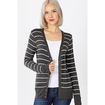 Snap Up Cardigan - Striped Gray