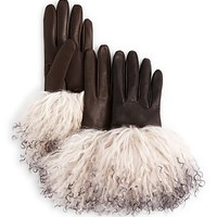 Bloomingdale's Fur Cuff Driving Gloves