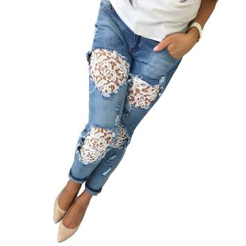 2017 Fashion Women Ladies Cotton Denim Pants Stretch Bleach Ripped Skinny Jeans Denim Crocheted Lace Hollow Out Trousers YF368