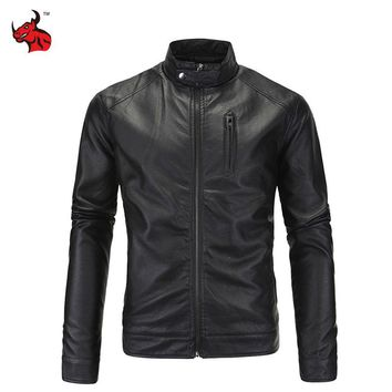 Trendy New Motorcycle Jacket Vintage PU Leather Jackets Stand Collar Male Moto Jackets Men's Black Jaqueta Motoqueiro AT_94_13