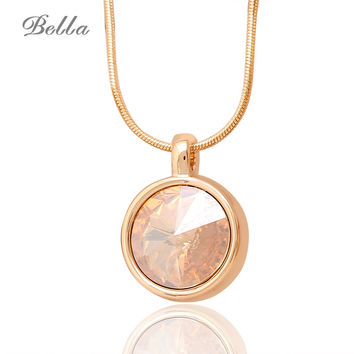 Women Fashion Necklaces & pendant Jewelry Classic Necklace Pendule Real Gold Plated Austrian Crystal Pendant Pingente(X0217)