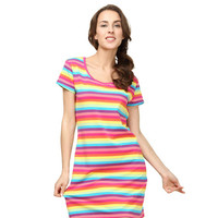Casual Rainbow Color Stripe Dress