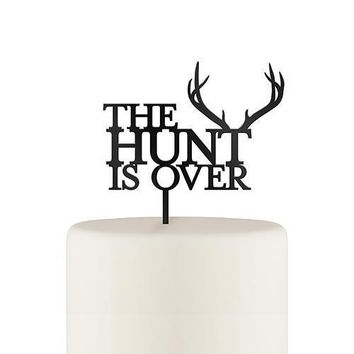 The Hunt Is Over Acrylic Cake Topper - Black (Pack of 1)
