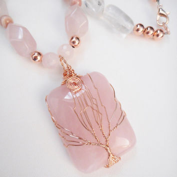 Rose Gold Tree of Life Wire Wrapped Pendant Necklace, Statement Necklace, Stone Jewelry, Tree of Life Pendants, Rose Quartz Jewelry