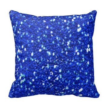 Pretty Royal Blue Sparkly Faux Glitter Look Pillows