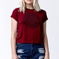 LA Hearts Mandala Short Sleeve Crew T-Shirt - Womens Tee - Red