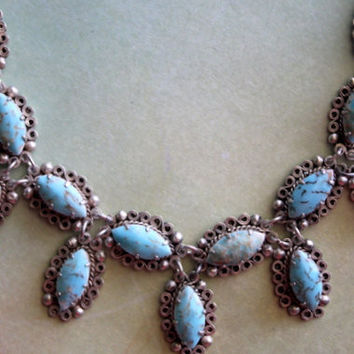 Vintage 1930's/1940's Turquoise and Silver Necklace