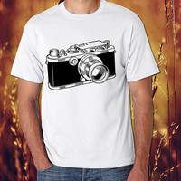 A black and white version of a vintage populer womens and mens tshirt