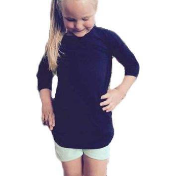 Toddler 3/4 Sleeve Piko-Style Top, Black