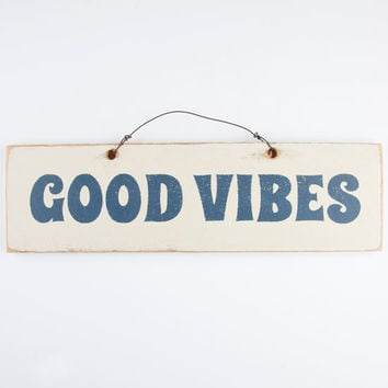 Good Vibes Wood Sign Blue/White One Size For Men 26322027301
