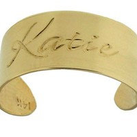 Personalized Thumb Name Ring Sterling Silver w/ 24K Gold Overlay